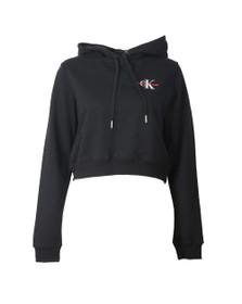 Calvin Klein Jeans Womens Black Cropped Monogram Hoodie