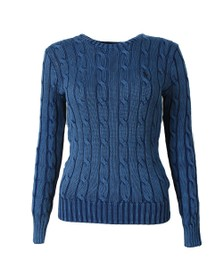 Polo Ralph Lauren Womens Blue Julianna Cable Knit Jumper