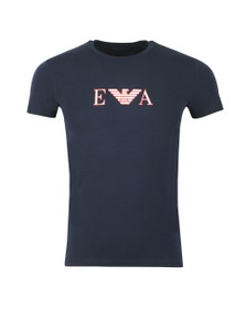 Emporio Armani Mens Blue Chest Logo Stretch T Shirt