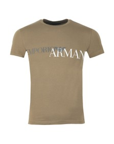 Emporio Armani Mens Green Megalogo Stretch Crew T Shirt