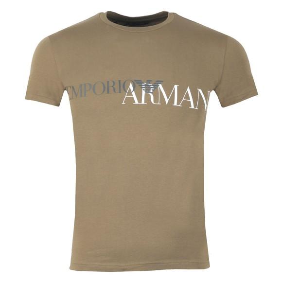 Emporio Armani Mens Green Megalogo Stretch Crew T Shirt main image