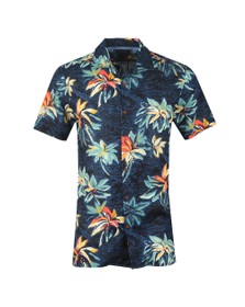 Tommy Hilfiger Mens Blue S/S Hawaiian Shirt