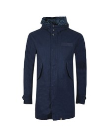 Pretty Green Mens Blue Cotton Zip Up Hooded Parker