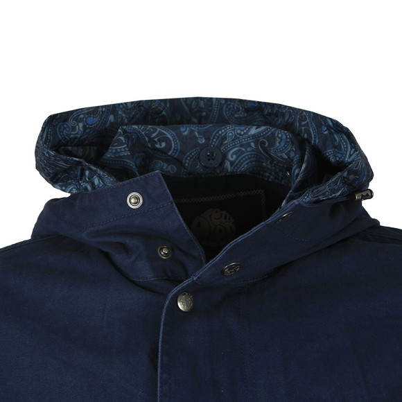 Pretty Green Mens Blue Cassidy Cotton Zip Up Hooded Parker main image