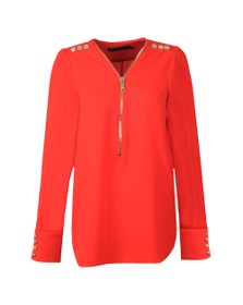 Holland Cooper Womens Red Zip Buttoned Shirt