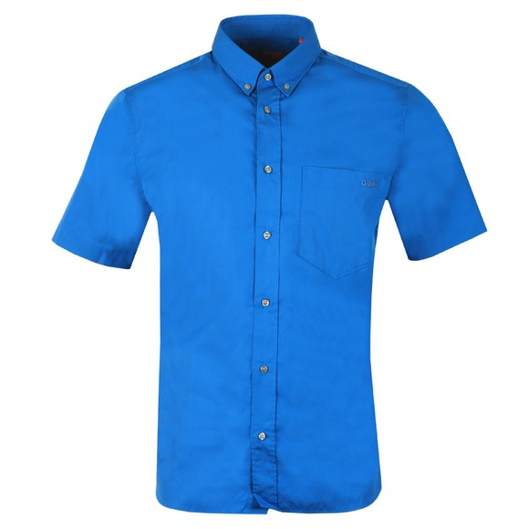 HUGO Mens Blue Relaxed Fit Short Sleeve Shirt