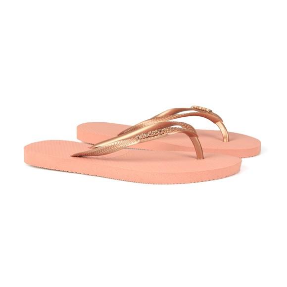 Havaianas Womens Pink Slim Logo Metallic Flip Flop main image