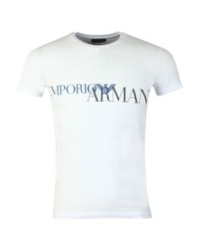 Emporio Armani Mens White Megalogo Stretch Crew T Shirt