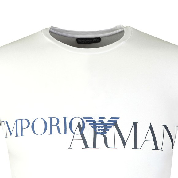 Emporio Armani Mens White Megalogo Stretch Crew T Shirt main image
