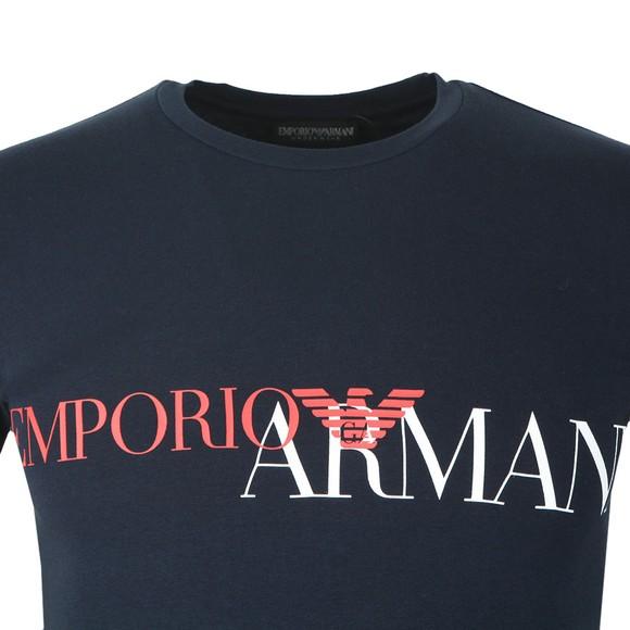 Emporio Armani Mens Blue Megalogo Stretch Crew T Shirt main image