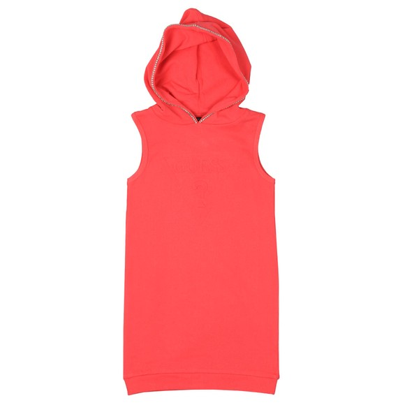 Guess Girls Pink Embossed Logo Hooded Dress