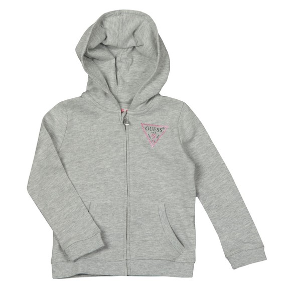 Guess Girls Grey Glitter Triangle Logo Hoody