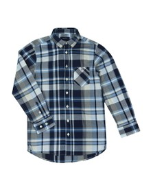Gant Boys Blue Broadcloth Plaid Shirt