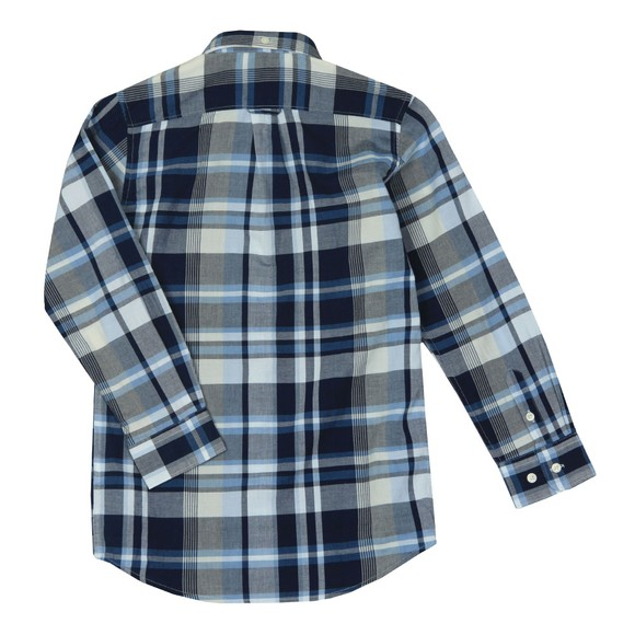 Gant Boys Blue Broadcloth Plaid Shirt main image