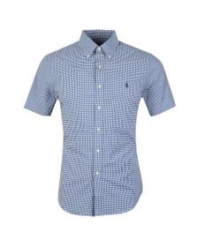 Polo Ralph Lauren Mens Blue Slim Fit Performance Gingham Shirt