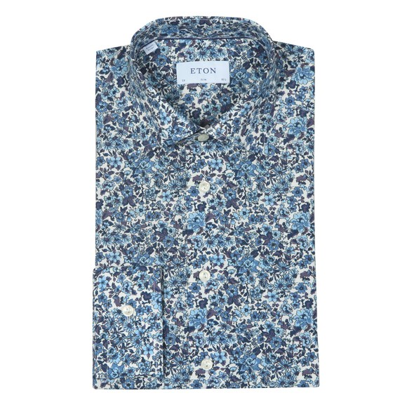 Eton Mens Blue Floral Print Poplin Shirt