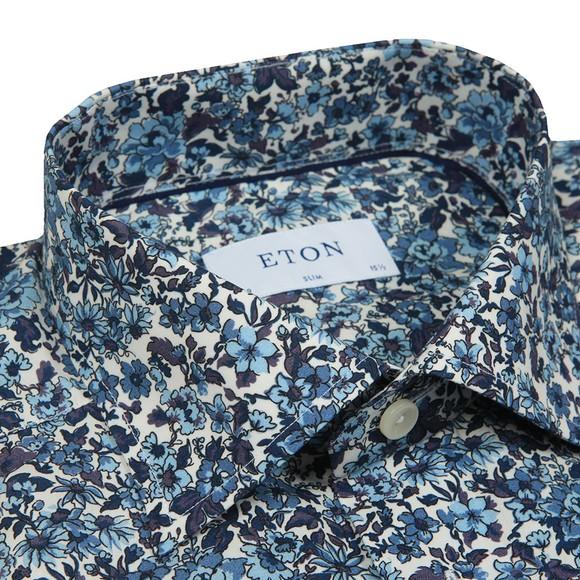 Eton Mens Blue Floral Print Poplin Shirt main image