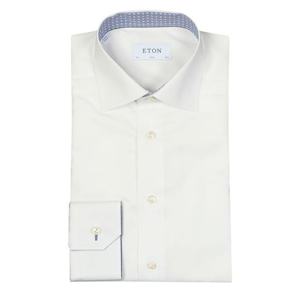 Eton Mens White Signature Twill Mosaic Detail Shirt