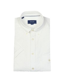 Eton Mens White Seersucker Short Sleeve Shirt