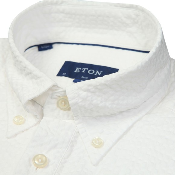 Eton Mens White Seersucker Short Sleeve Shirt main image