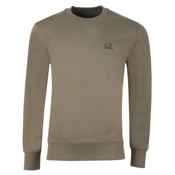 C.P. Company Mens Green Embroidered Diagonal Fleece Sweatshirt main image