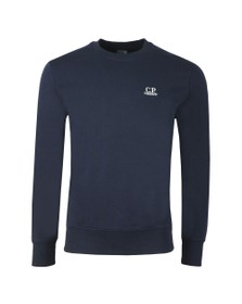 C.P. Company Mens Blue Embroidered Diagonal Fleece Sweatshirt