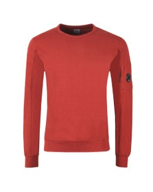C.P. Company Mens Red Viewfinder Sleeve Crew Sweat