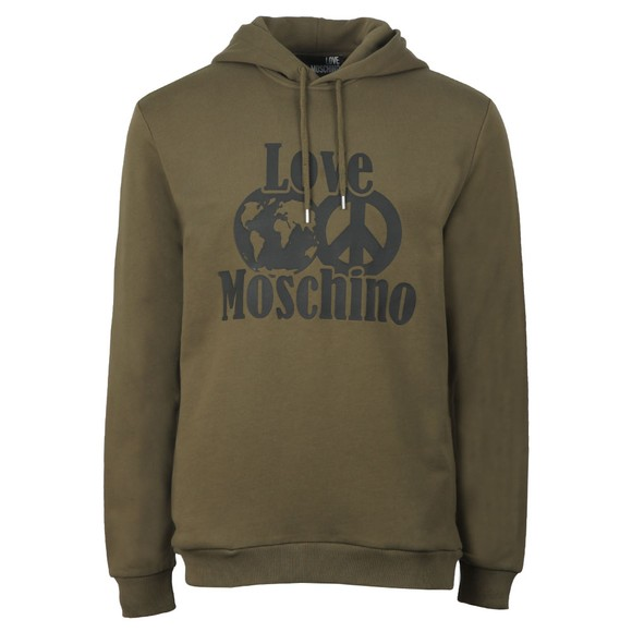 Love Moschino Mens Green Planet Love Overhead Hoody
