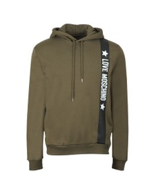 Love Moschino Mens Green Side Logo Overhead Hoody