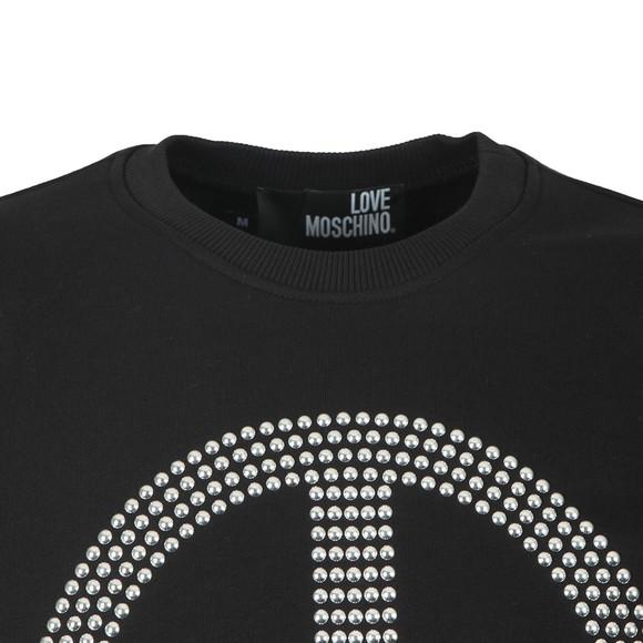 Love Moschino Mens Black Stud Peace Logo Sweatshirt