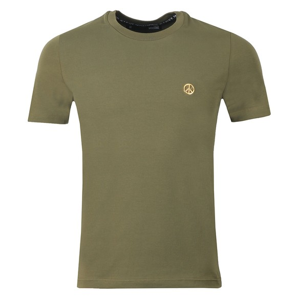 Love Moschino Mens Green Metal Logo T Shirt