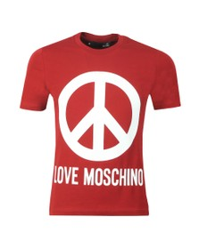 Love Moschino Mens Red Large Logo T Shirt