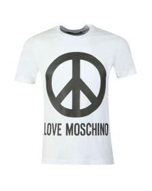 Love Moschino Mens White Large Logo T Shirt