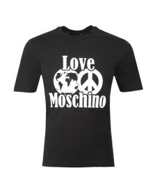 Love Moschino Mens Black Planet Love T Shirt