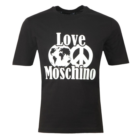 Love Moschino Mens Black Planet Love T Shirt