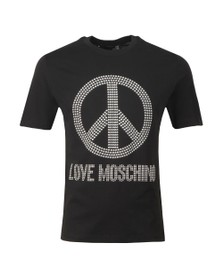 Love Moschino Mens Black Stud Logo T Shirt