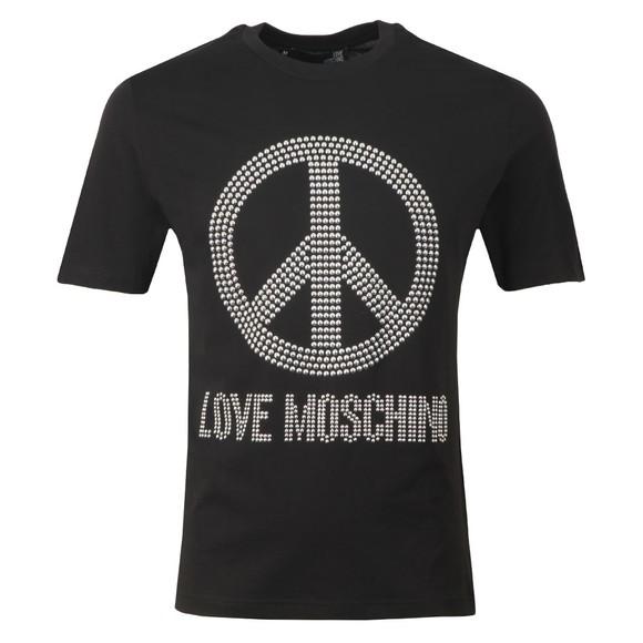 Love Moschino Mens Black Stud Logo T Shirt