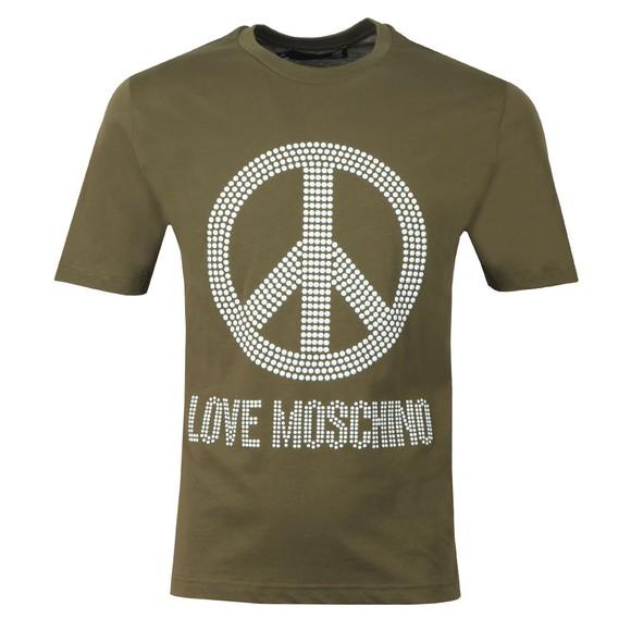 Love Moschino Mens Green Stud Logo T Shirt