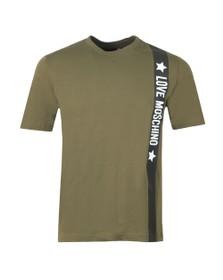 Love Moschino Mens Green Side Logo T Shirt