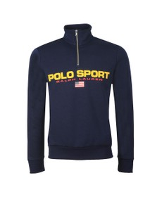 Polo Ralph Lauren Sport Mens Blue Logo Half Zip Sweat