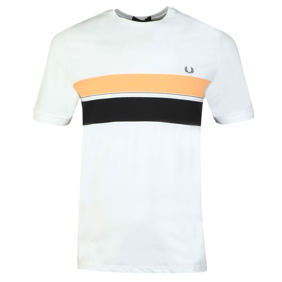Fred Perry Mens White Striped Chest Panel Tee main image