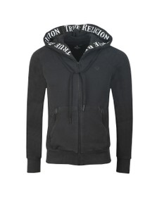 True Religion Mens Black Hooded Zip Contrast Hoodie