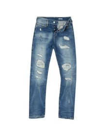 True Religion Mens Blue New Rocco Destroyed Jeans