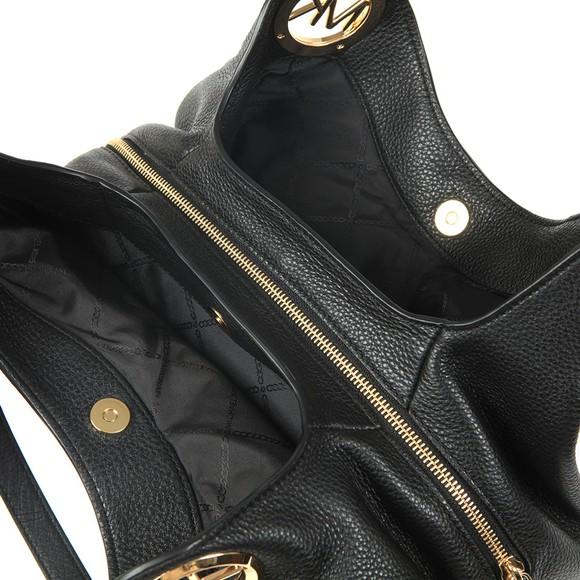 Michael Kors Womens Black Lillie Large Chain Shoulder Tote main image