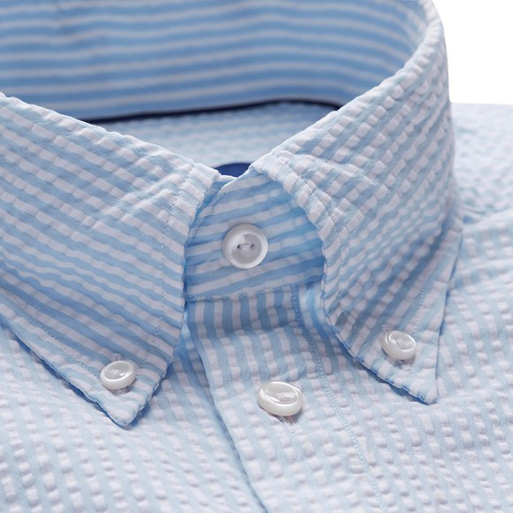 Eton Mens Blue Seersucker Short Sleeve Shirt