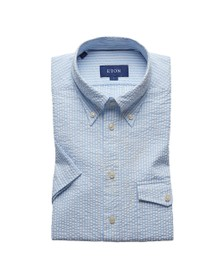 Eton Mens Blue Seersucker Short Sleeve Shirt