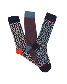 Ted Baker Mens Multicoloured Geo Three Pack Sock