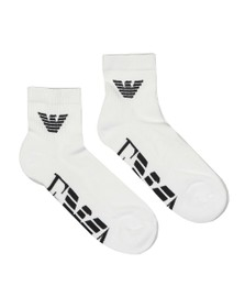 Emporio Armani Mens White 2 Pack Trainer Sock