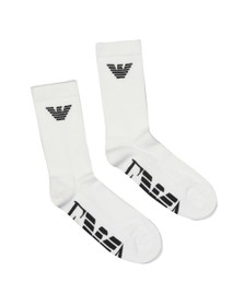Emporio Armani Mens White 2 Pack Sock