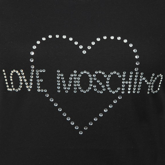 Love Moschino Womens Black Diamante Heart Logo T Shirt main image